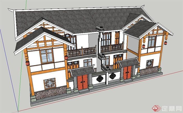 現代中式二層雙拼別墅建筑設計su模型
