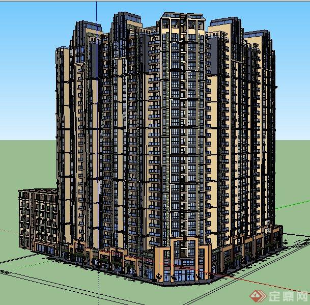 现代转角商住楼建筑设计su模型