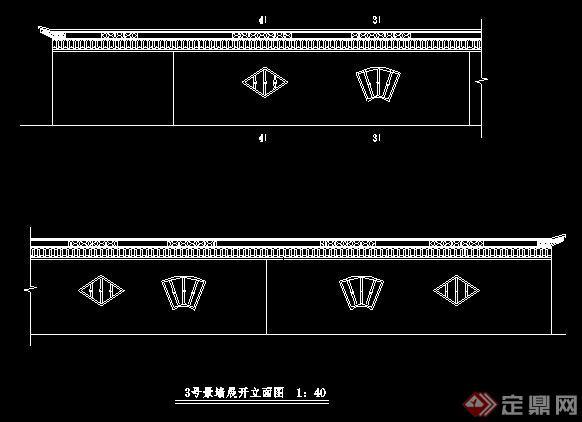三款中式风格景观围墙施工图(5)