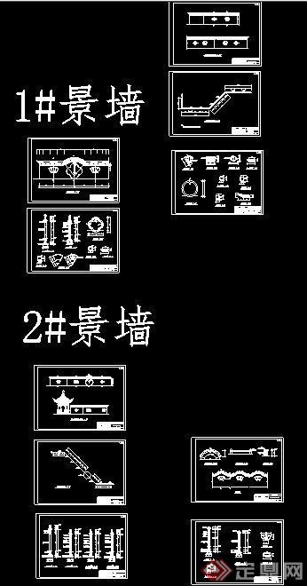 三款中式风格景观围墙施工图(6)