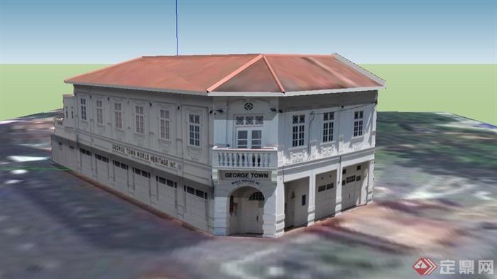某欧式两层博物馆建筑设计su模型