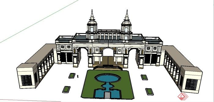 某欧式大型景观门廊设计su模型
