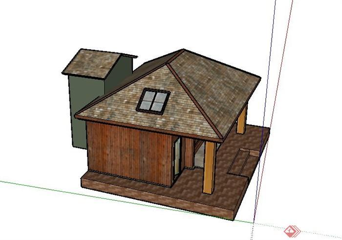 某临时住宅小木屋建筑设计su模型(2)