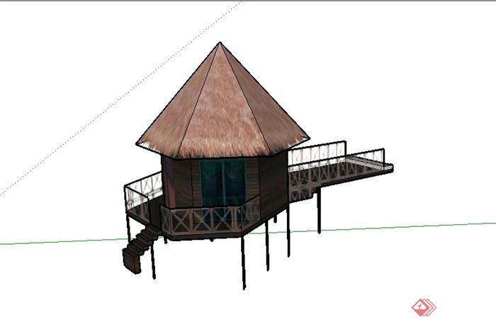 某茅草屋建筑设计su模型