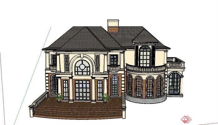 某欧式两层组合别墅建筑设计su模型