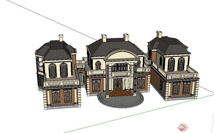 某欧式两层联排别墅建筑设计su模型(2)