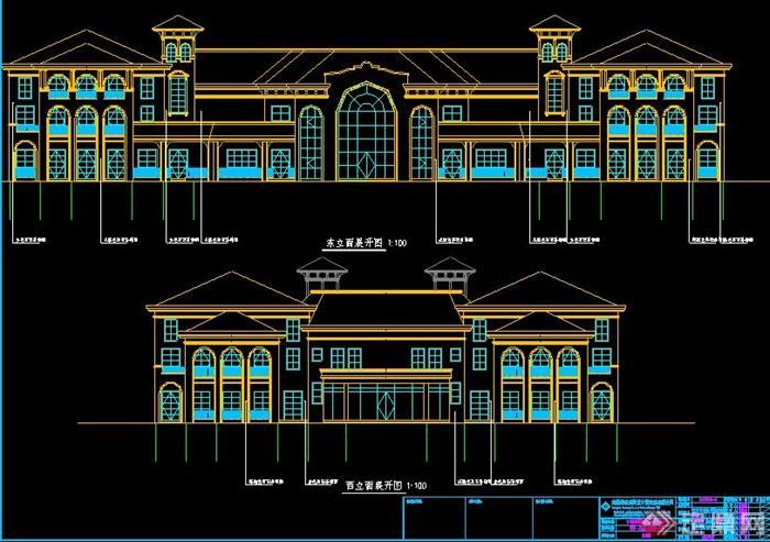 多套会所建筑建筑设计方案图纸(6)