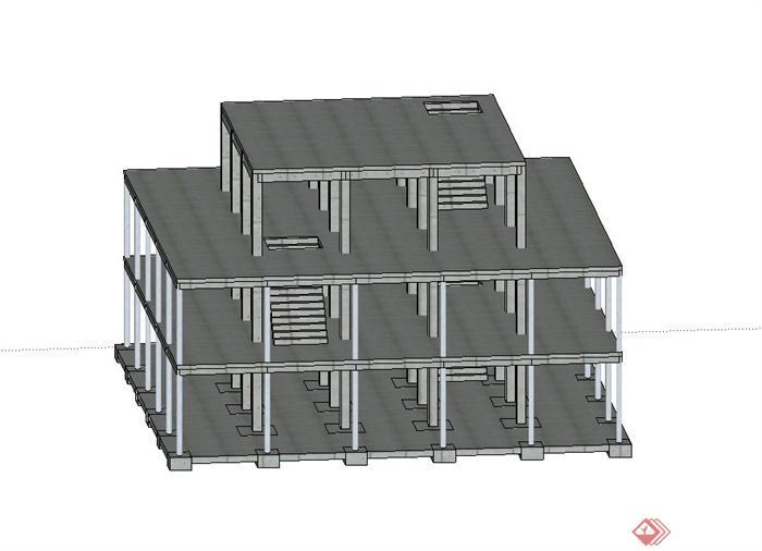 某三层建筑框架结构设计su模型