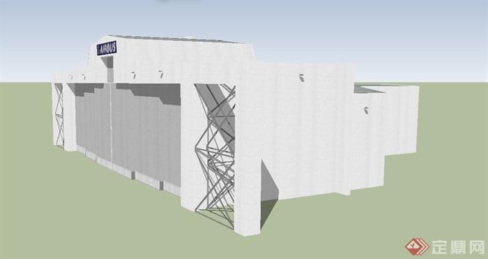 某现代单层飞机库建筑设计su模型