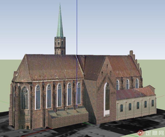 欧式风格教堂建筑设计su模型