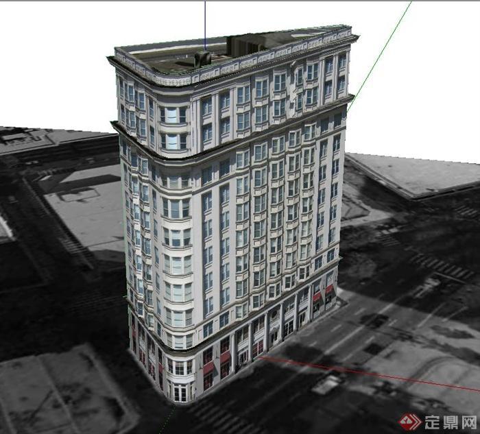 某欧式高层熨斗大厦建筑设计su模型