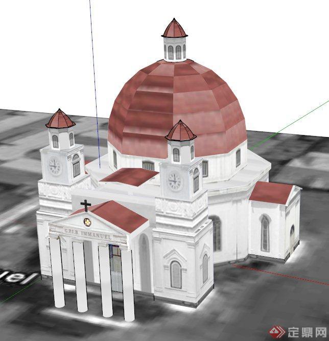 某欧式称霸教堂建筑设计su模型