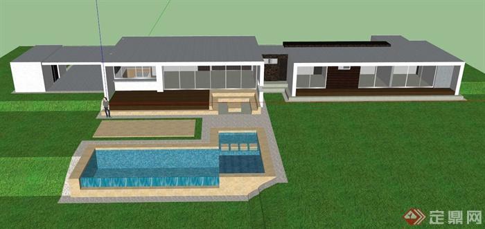 现代单层别墅建筑设计su模型