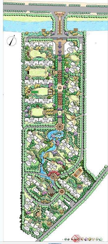 某现代滨水住宅区景观设计psd平面效果图[原创]