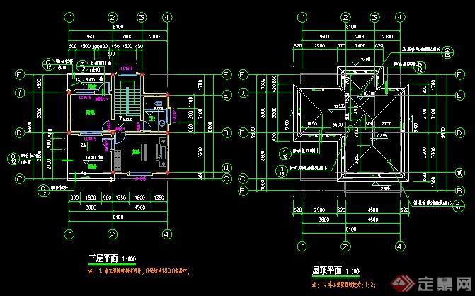 現代三層別墅建筑設計施工圖(含效果)