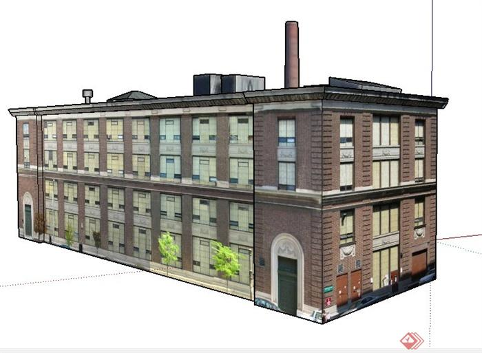 一栋四层办公楼建筑设计su招牌v招牌模型设计图片图片