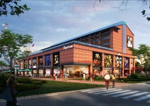 某现代购物中心商业建筑设计psd效果图
