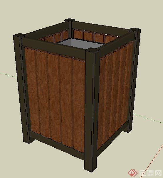 园林景观木制垃圾桶su模型