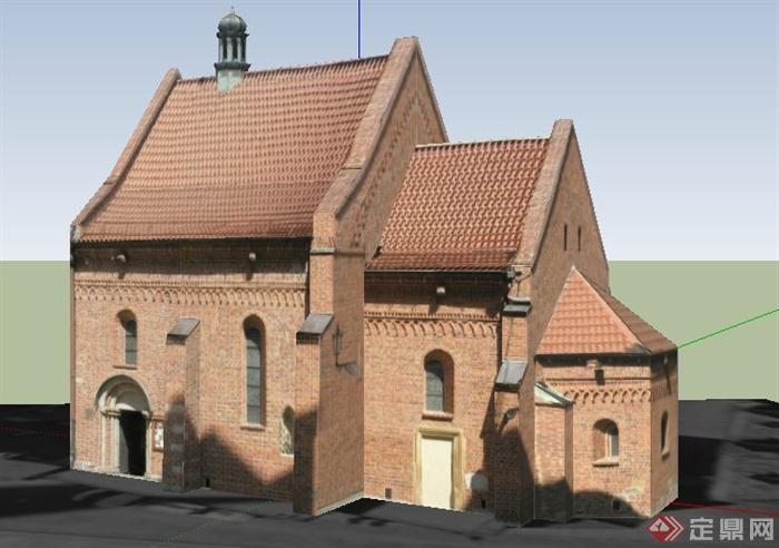 一栋欧式风格民居住宅建筑设计su模型