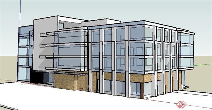 现代某四层办公楼建筑设计su模型民用建筑设计通则道吧图片