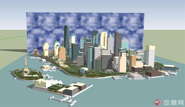 现代某滨海小城市建筑规划设计su模型(1)