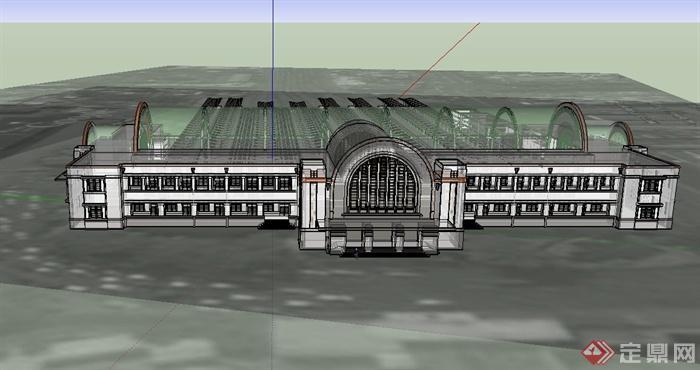 某欧式火车站建筑设计su模型