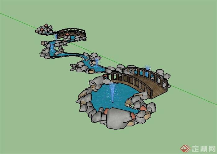 园林景观节点水体景观设计su模型