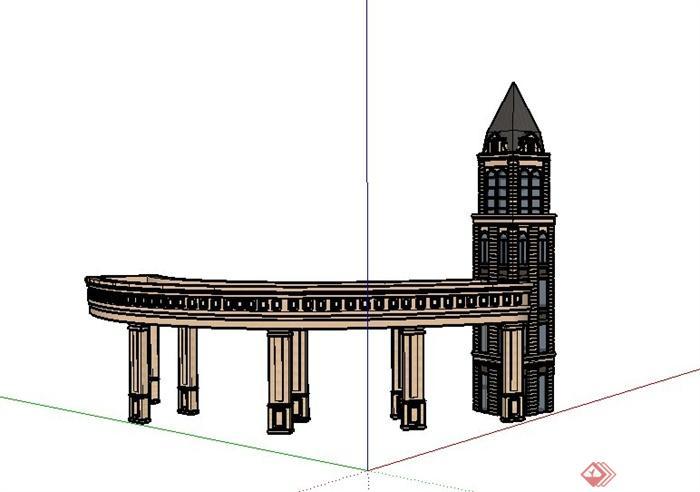 某欧式风格建筑廊架设计su模型