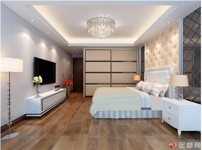 某现代简约风格卧室家装布置设计JPG效果图(1)