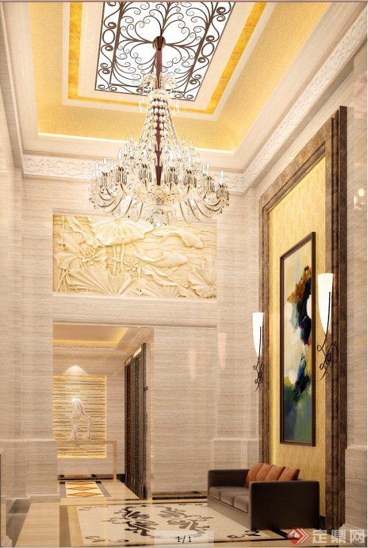 某欧式风格电梯厅设计su模型[原创]