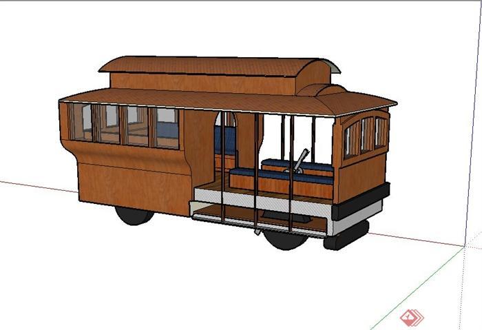 某木质观景小火车设计su模型