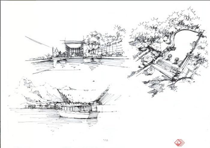 卓越手绘教师作品-滨水景观码头现代风格手绘-设计师
