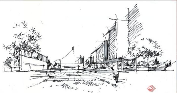办公环境,长廊,全景图,手绘,现代风格,建筑