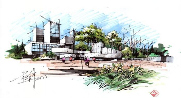 卓越手绘教师作品-办公建筑全景图手绘现代风格-设计