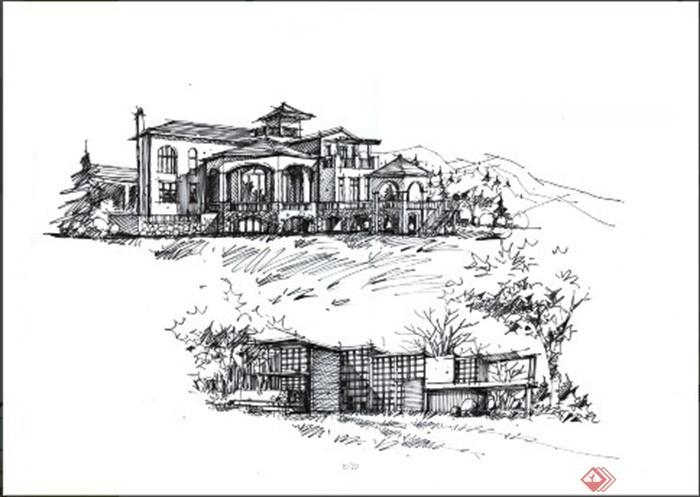 卓越手绘教师作品-别墅建筑欧陆风格-设计师图库