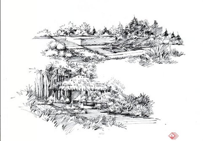 卓越手绘教师作品-公园景观茅草亭局部特写现代风格