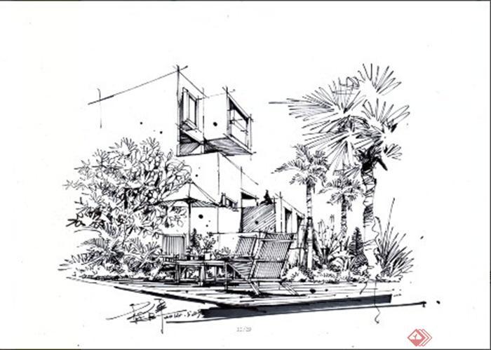 卓越手绘教师作品-棕榈庭院花园桌凳局部特写彩铅