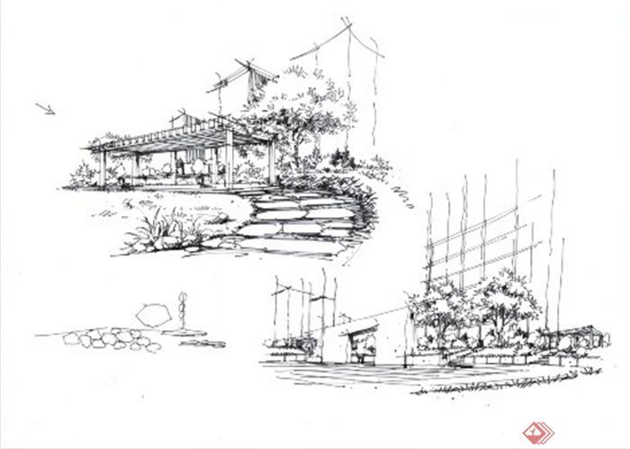 卓越手绘教师作品-公园景观道路廊架局部特写手绘