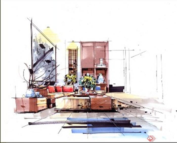 客厅,沙发,茶几,手绘,现代风格
