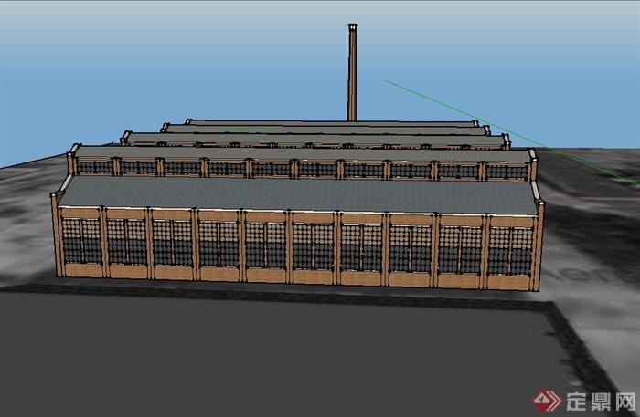 某欧式锻铁炉厂建筑设计su模型