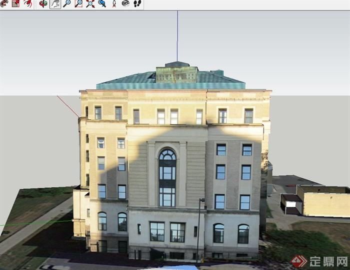 某欧式多层 县政府大楼建筑设计su模型