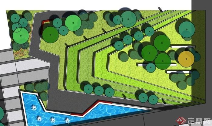 现代风格景观设计平面图-台地景观水景喷泉-设计师