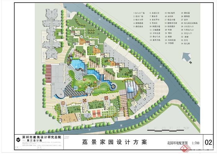 小区景观彩平图免费鉴赏-住宅区景观-设计师图库