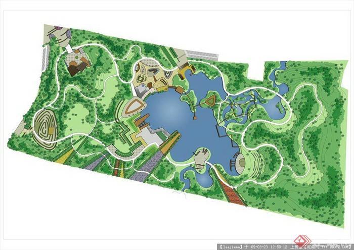 小区景观彩平图免费鉴赏-滨水公园-设计师图库图片