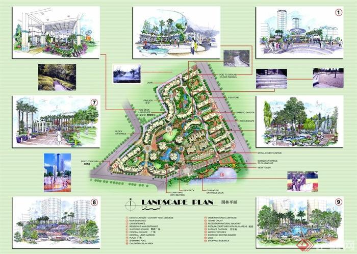 小区景观彩平图免费鉴赏-住宅区景观分析图-设计师