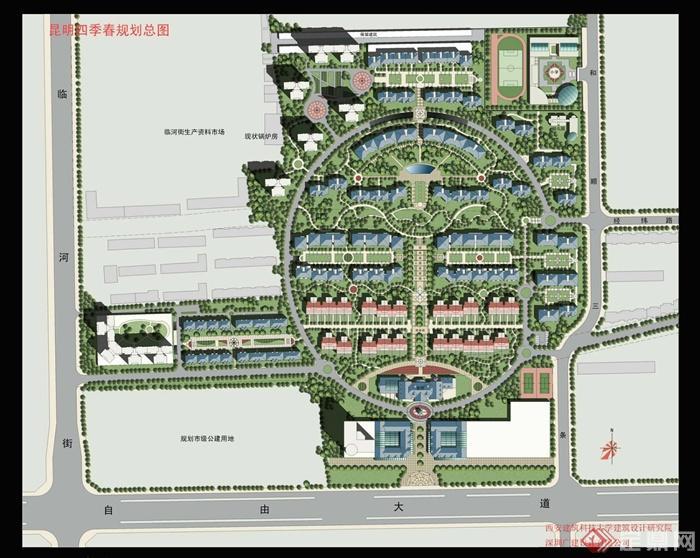 小区景观彩平图免费鉴赏-住宅区规划平面图住宅区-师