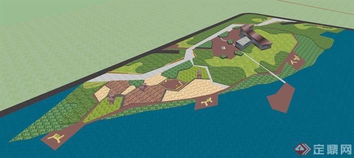 小型公园景观设计su模型(带效果图)