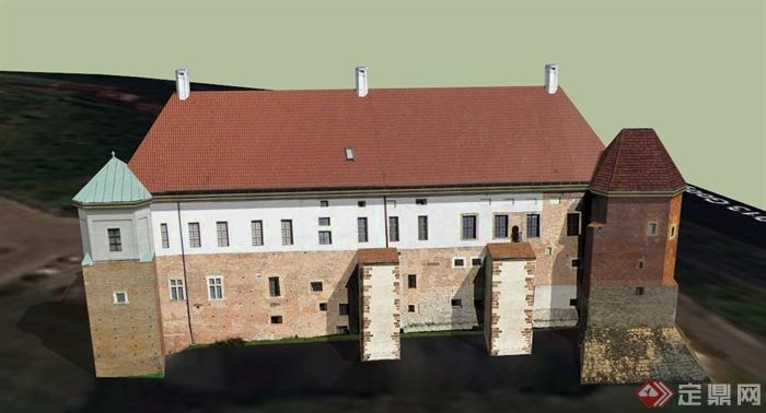 某欧式公寓楼建筑设计su模型