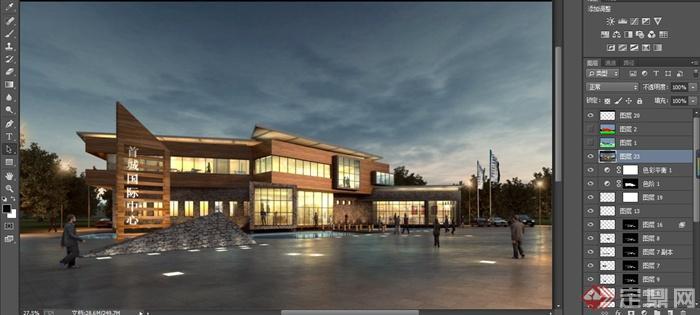 首城国际中心售楼处建筑设计MAX模型 带效果图图片