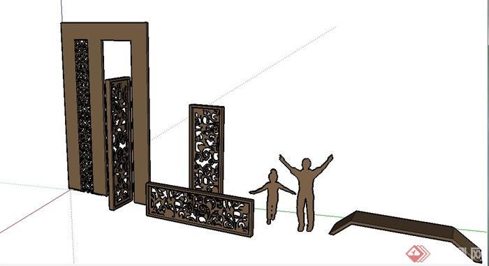 某景观节点木质雕塑花纹小品设计su模型